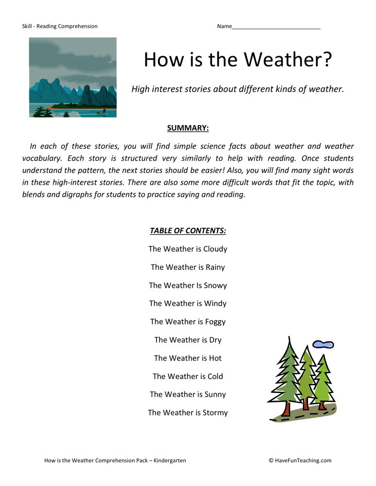 Reading Comprehension Worksheet - How is the Weather ...