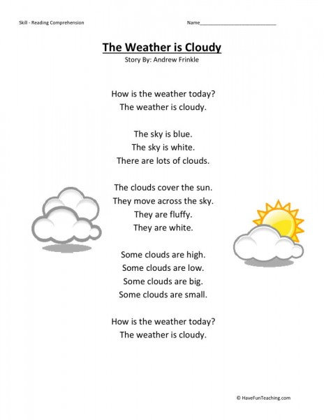reading comprehension worksheet weather is cloudy. Black Bedroom Furniture Sets. Home Design Ideas