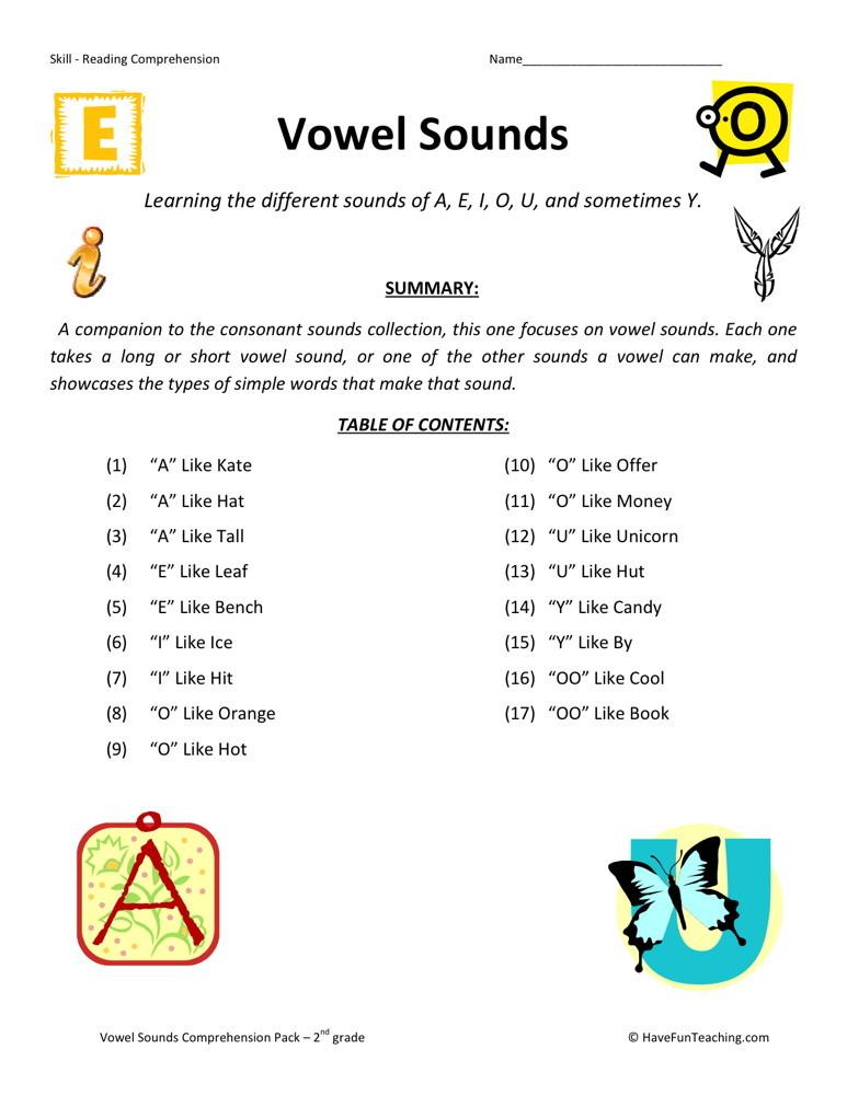 Reading Comprehension Worksheet - Vowel Sounds Collection