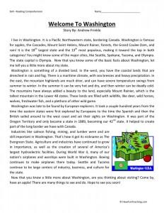 Reading Comprehension Worksheet - Welcome to Washington