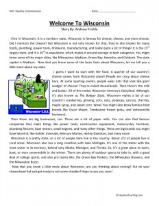 Reading Comprehension Worksheet - Welcome to Wisconsin