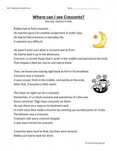 Reading Comprehension Worksheet - Where Can I See Crescents?