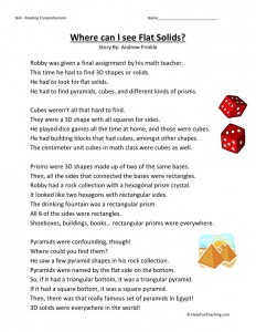 Reading Comprehension Worksheet - Where Can I See Flat Solids?