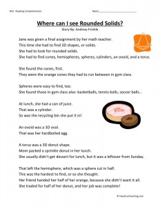 Reading Comprehension Worksheet - Where Can I See Rounded Solids?