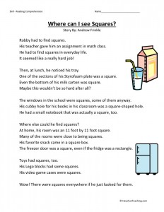 Reading Comprehension Worksheet - Where Can I See Squares?