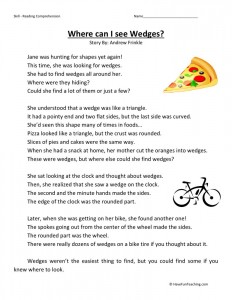 Reading Comprehension Worksheet - Where Can I See Wedges?