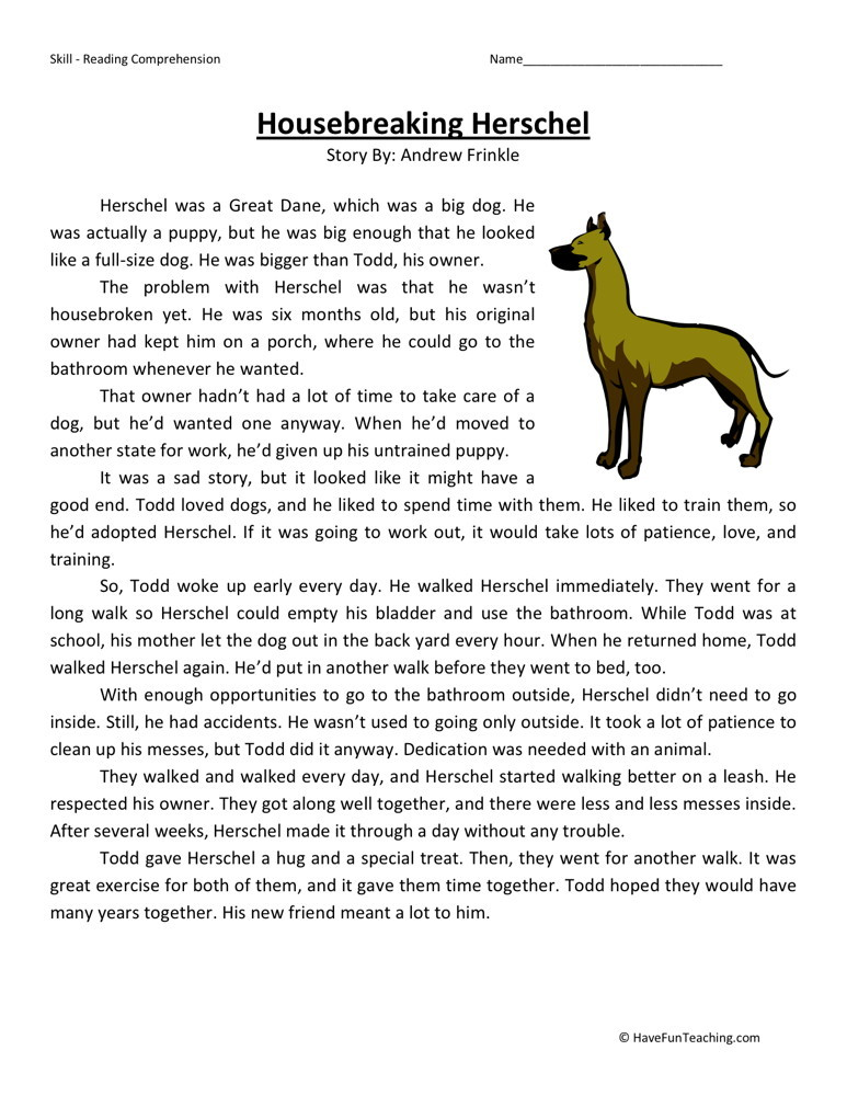 ... Fourth Grade Reading Comprehension Worksheets › Housebreaking