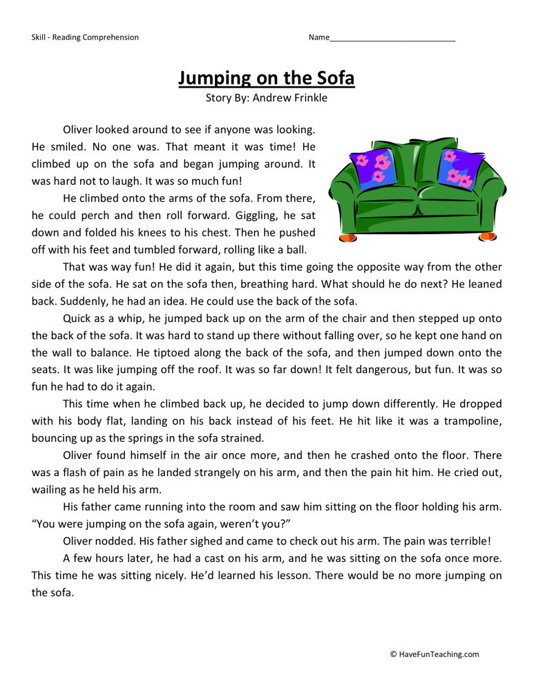... Third Grade Reading Comprehension Worksheets › Jumping on the Sofa