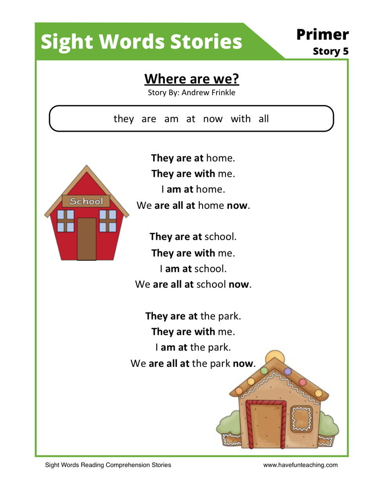 comprehension  we? Reading and   Where reading words sight Comprehension Worksheet are