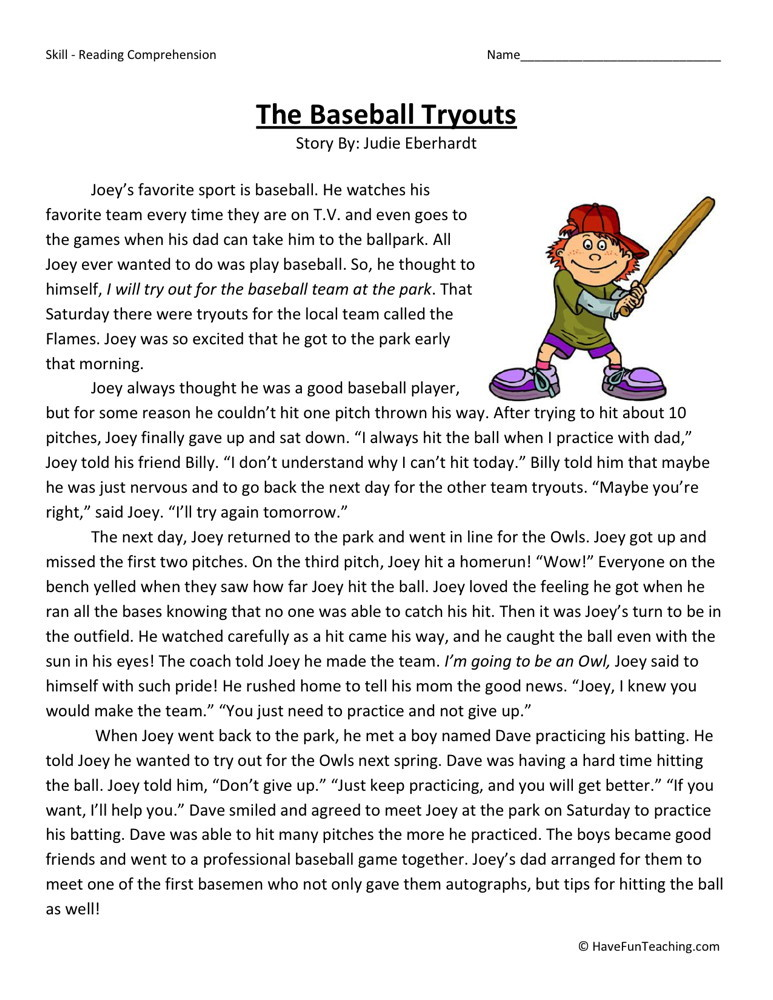 Reading Comprehension Worksheet - The Baseball Tryouts