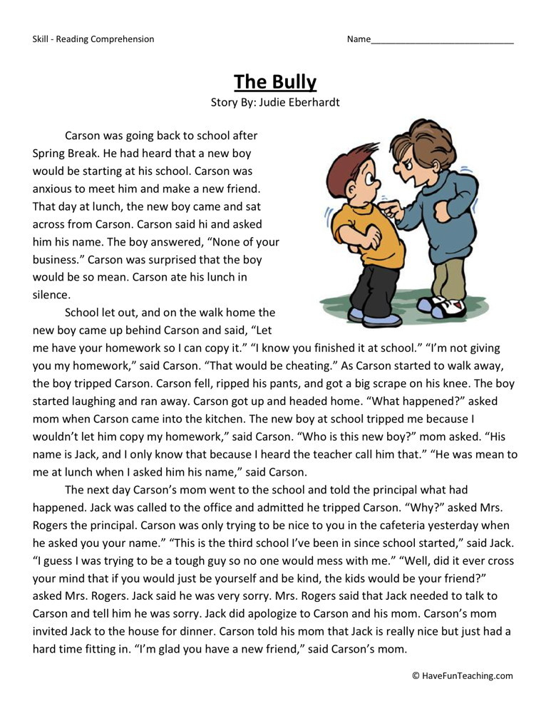 2nd Grade Reading Comprehension Worksheets : Reading comprehension worksheet the bully